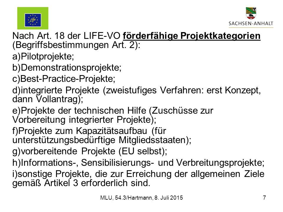 Nach Art. 18 der LIFE-VO förderfähige Projektkategorien (Begriffsbestimmungen Art.