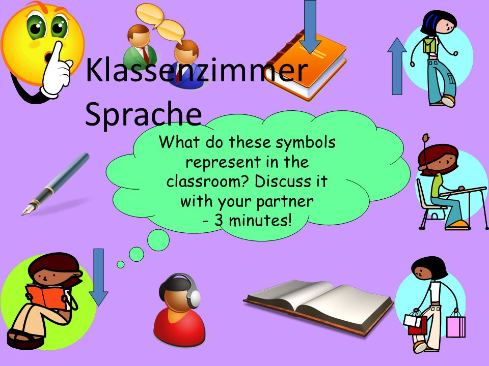 What do these symbols represent in the classroom? Discuss it with your partner - 3 minutes! Klassenzimmer Sprache