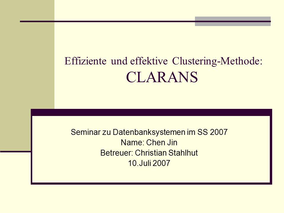 Gliederung Einführung in die Clusteranalyse Definition Ähnlichkeitsmaße Klassifikation der Clustering Algorithmen Charakteristika eines Clusters Partitionierungsverfahren Clustering Algorithmen basierend auf K-Medoid PAM (Partitioning Around Medoids) CLARA (Clustering LARge Applications ) CLANRANS: Clustering Algorithmus basierend auf zufälliger Suche Motivation CLARANS Algorithmus Experiment Räumliches Data Mining