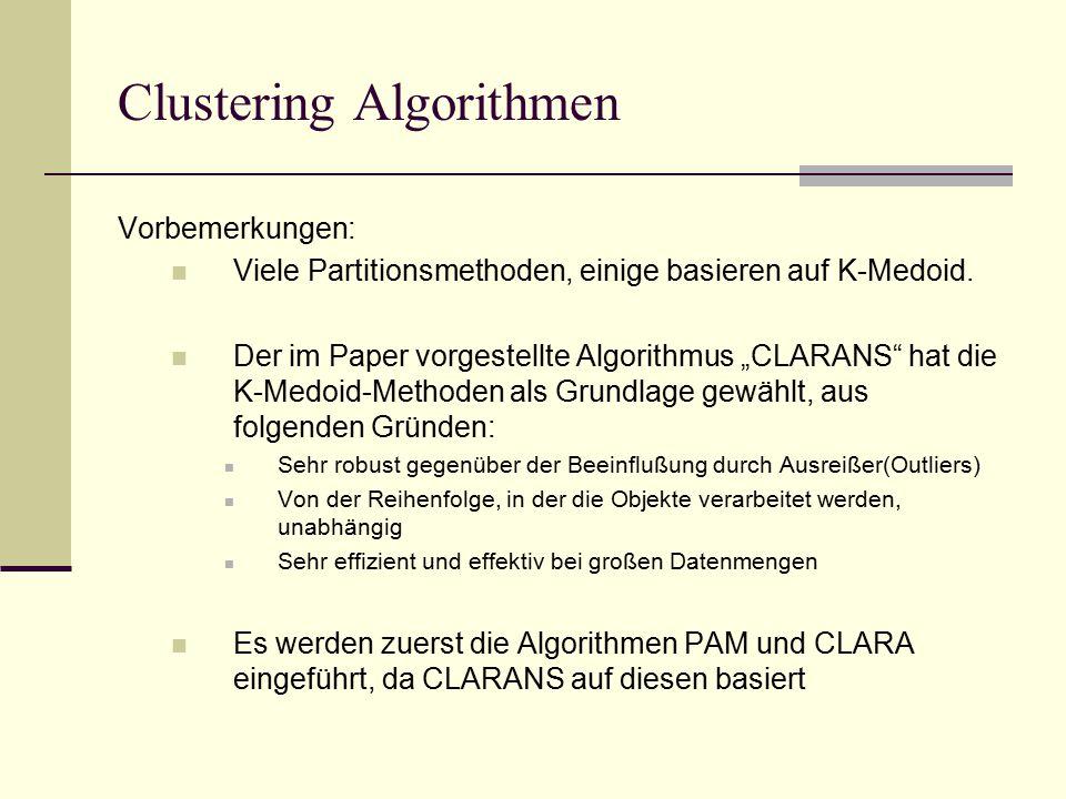 Clustering Algorithmen Vorbemerkungen: Viele Partitionsmethoden, einige basieren auf K-Medoid.