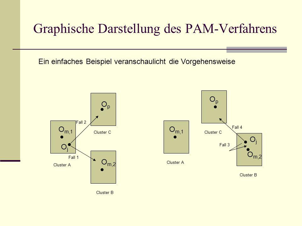 Graphische Darstellung des PAM-Verfahrens Ein einfaches Beispiel veranschaulicht die Vorgehensweise O m,1 OpOp O m,2 OjOj O m,1 OjOj OpOp O m,2 Fall 1 Fall 2 Fall 3 Fall 4 Cluster B Cluster A Cluster C Cluster A Cluster B