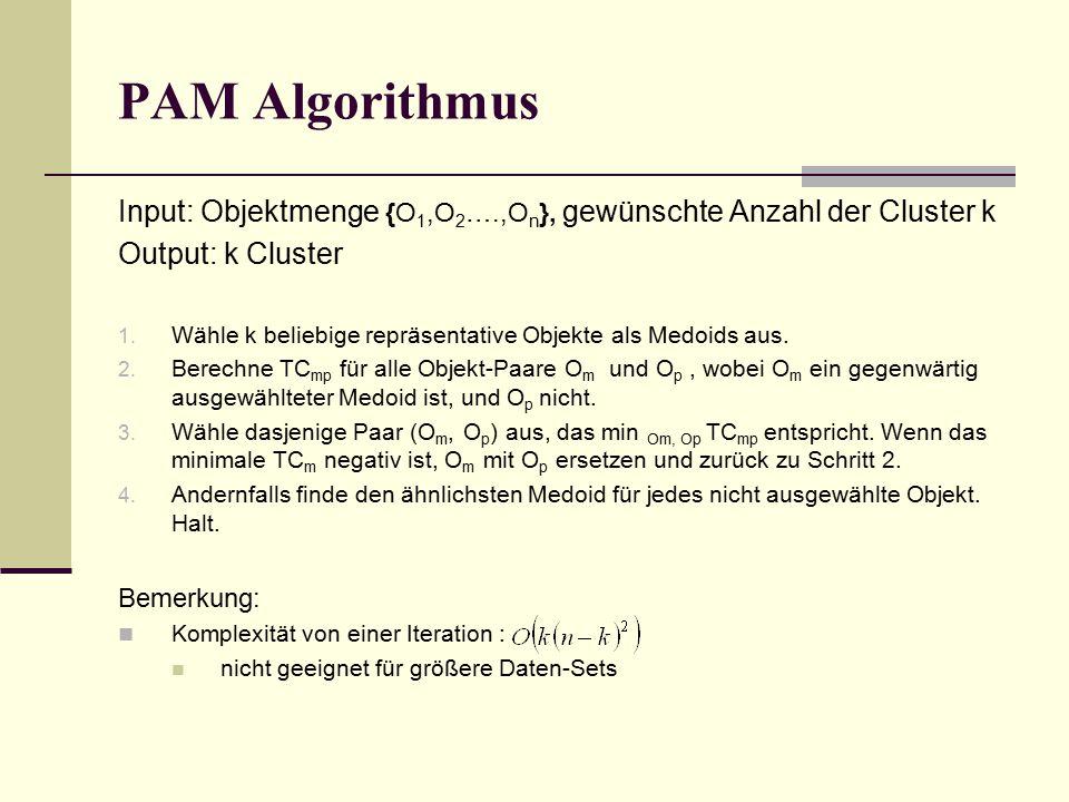 PAM Algorithmus Input: Objektmenge {O 1,O 2 ….,O n }, gewünschte Anzahl der Cluster k Output: k Cluster 1.