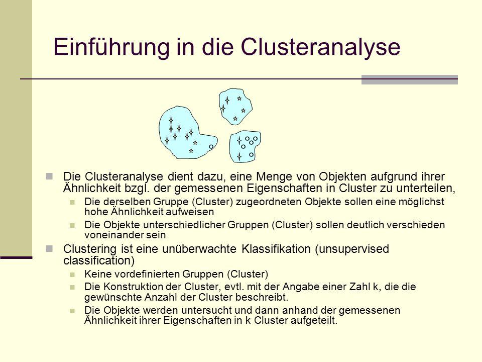 Einführung in die Clusteranalyse Die Clusteranalyse dient dazu, eine Menge von Objekten aufgrund ihrer Ähnlichkeit bzgl.