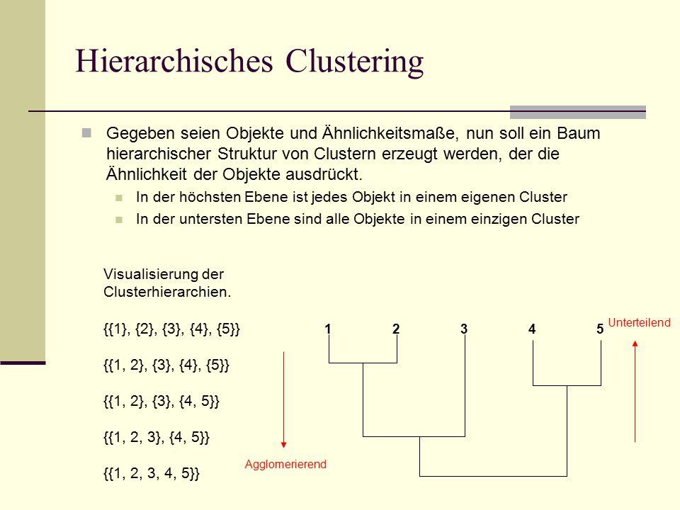Hierarchisches Clustering Gegeben seien Objekte und Ähnlichkeitsmaße, nun soll ein Baum hierarchischer Struktur von Clustern erzeugt werden, der die Ähnlichkeit der Objekte ausdrückt.