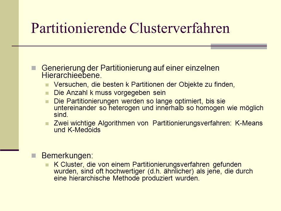 Partitionierende Clusterverfahren Generierung der Partitionierung auf einer einzelnen Hierarchieebene.