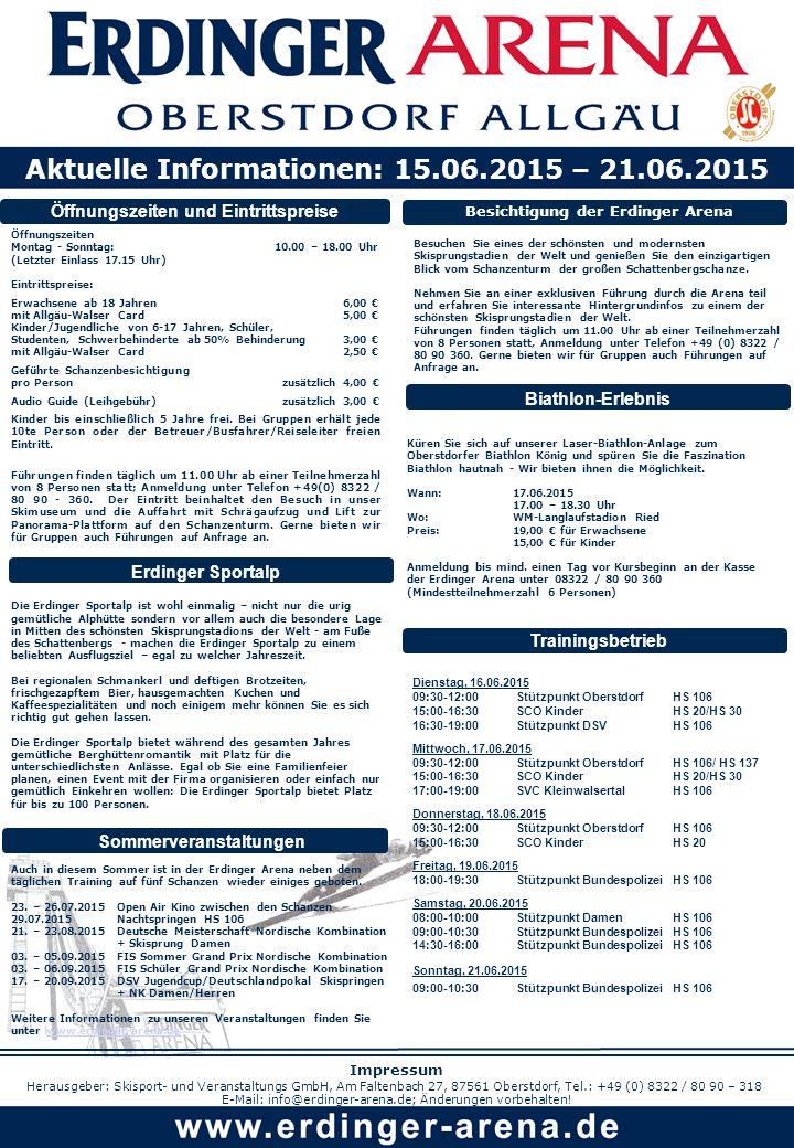 Öffnungszeiten und Eintrittspreise Öffnungszeiten Montag - Sonntag: 10.00 – 18.00 Uhr (Letzter Einlass 17.15 Uhr) Eintrittspreise: Erwachsene ab 18 Jahren 6,00 € mit Allgäu-Walser Card 5,00 € Kinder/Jugendliche von 6-17 Jahren, Schüler, Studenten, Schwerbehinderte ab 50% Behinderung 3,00 € mit Allgäu-Walser Card 2,50 € Geführte Schanzenbesichtigung pro Person zusätzlich 4,00 € Audio Guide (Leihgebühr) zusätzlich 3,00 € Kinder bis einschließlich 5 Jahre frei.