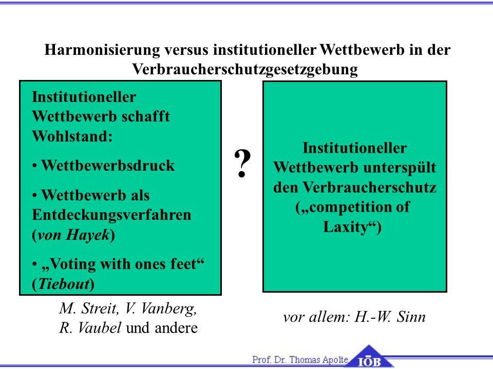 Harmonisierung versus institutioneller Wettbewerb in der Verbraucherschutzgesetzgebung Institutioneller Wettbewerb schafft Wohlstand: Wettbewerbsdruck