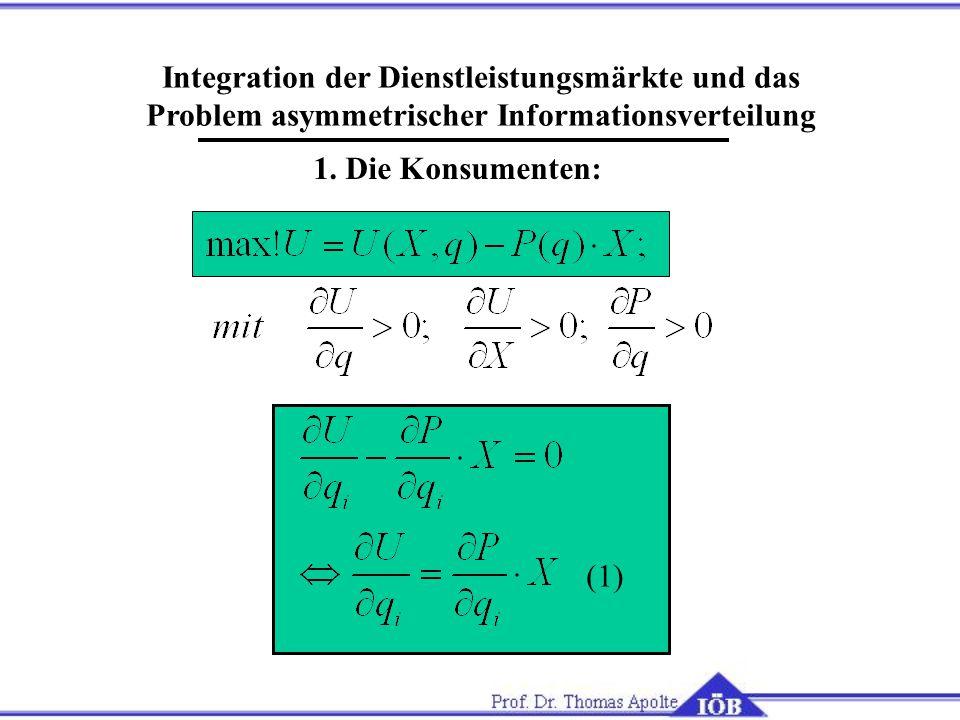 Integration der Dienstleistungsmärkte und das Problem asymmetrischer Informationsverteilung 1. Die Konsumenten: (1)