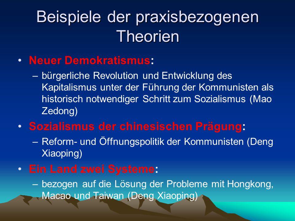 Beispiele der praxisbezogenen Theorien Neuer Demokratismus: –bürgerliche Revolution und Entwicklung des Kapitalismus unter der Führung der Kommunisten