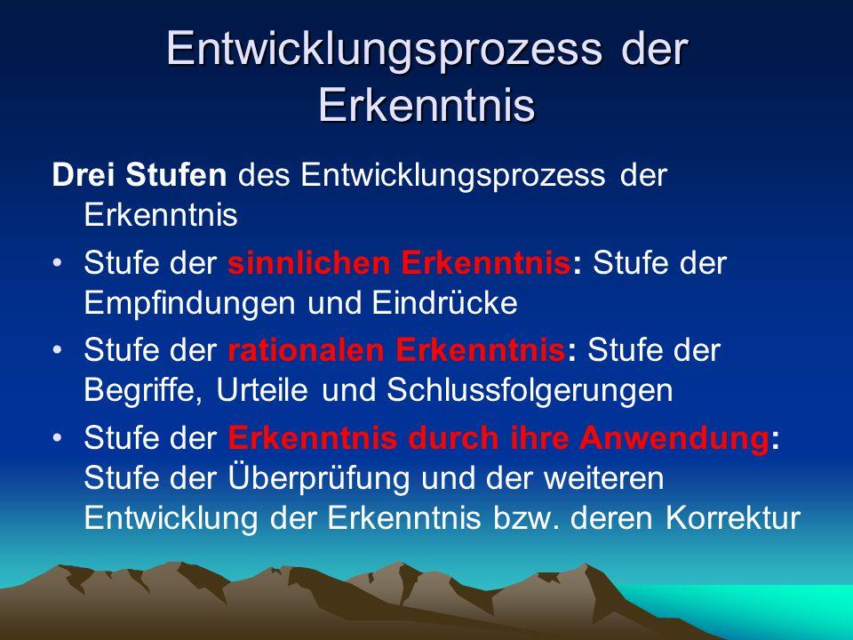 Entwicklungsprozess der Erkenntnis Drei Stufen des Entwicklungsprozess der Erkenntnis Stufe der sinnlichen Erkenntnis: Stufe der Empfindungen und Eind