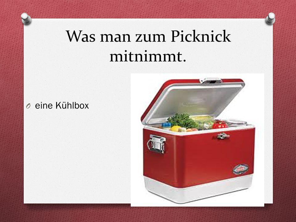 Was man zum Picknick mitnimmt. O eine Kühlbox