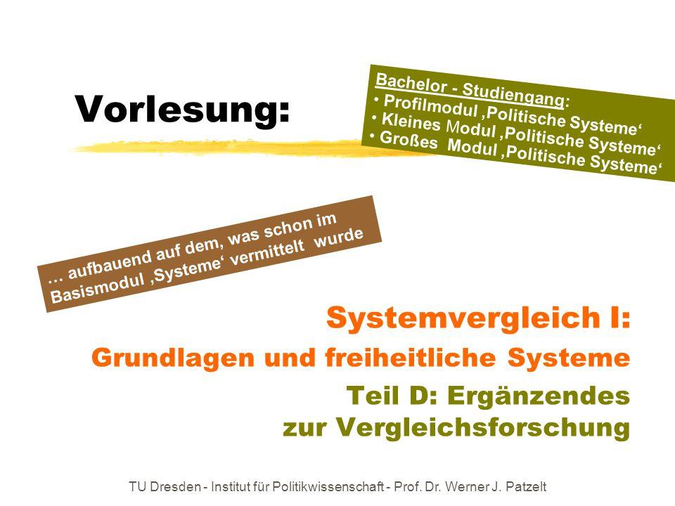 TU Dresden - Institut für Politikwissenschaft - Prof. Dr. Werner J. Patzelt Vorlesung: Systemvergleich I: Grundlagen und freiheitliche Systeme Teil D: