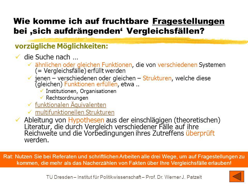 TU Dresden – Institut für Politikwissenschaft – Prof. Dr. Werner J. Patzelt Wie komme ich auf fruchtbare Fragestellungen bei 'sich aufdrängenden' Verg