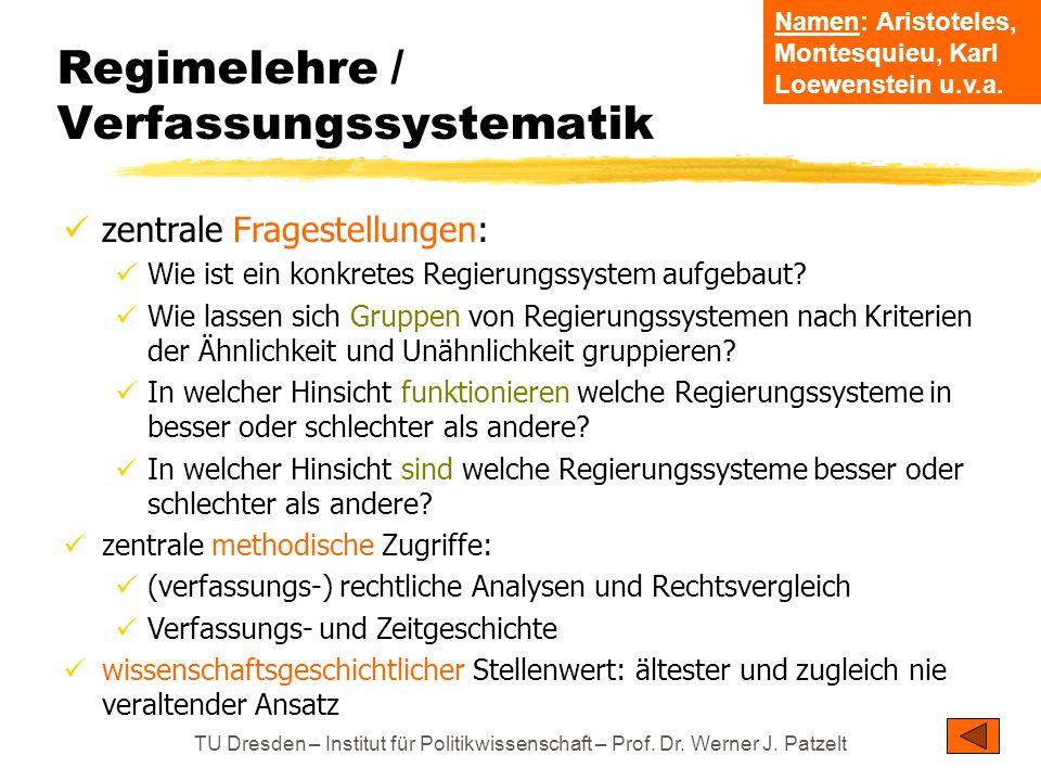 TU Dresden – Institut für Politikwissenschaft – Prof. Dr. Werner J. Patzelt Regimelehre / Verfassungssystematik zentrale Fragestellungen: Wie ist ein