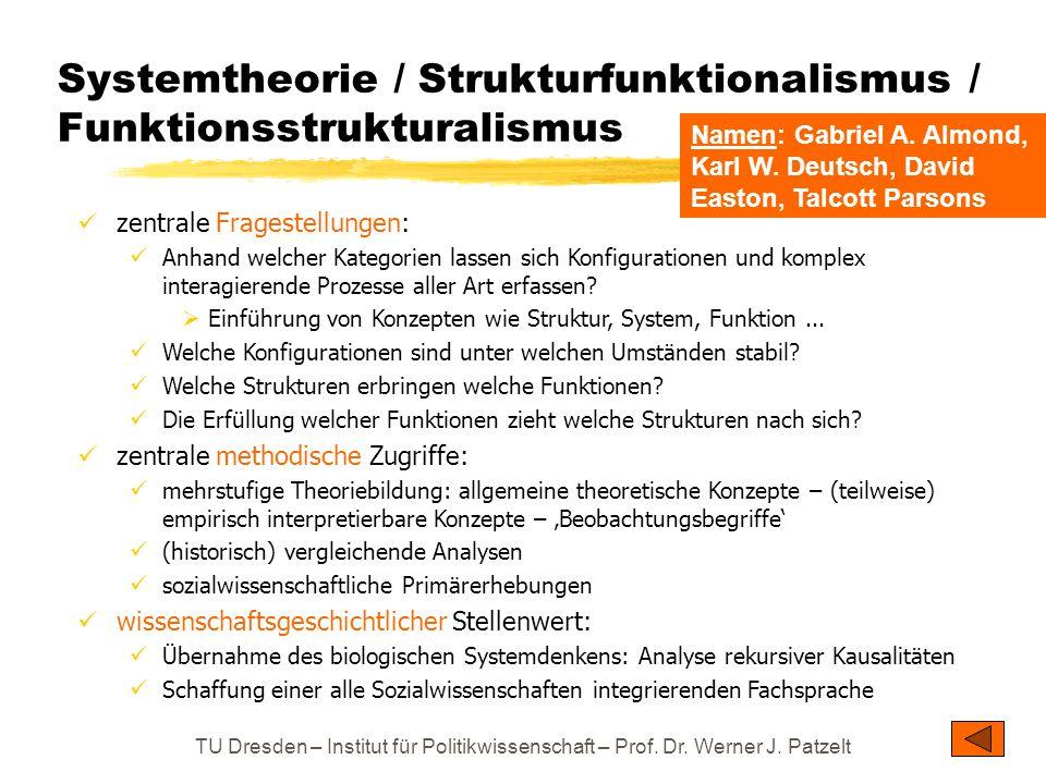 TU Dresden – Institut für Politikwissenschaft – Prof. Dr. Werner J. Patzelt Systemtheorie / Strukturfunktionalismus / Funktionsstrukturalismus zentral