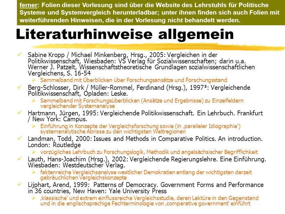 TU Dresden – Institut für Politikwissenschaft – Prof. Dr. Werner J. Patzelt Literaturhinweise allgemein Sabine Kropp / Michael Minkenberg, Hrsg., 2005