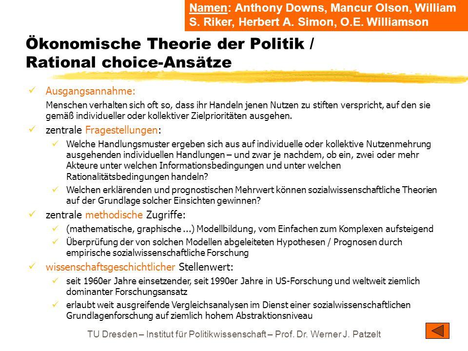 TU Dresden – Institut für Politikwissenschaft – Prof. Dr. Werner J. Patzelt Ökonomische Theorie der Politik / Rational choice-Ansätze Ausgangsannahme: