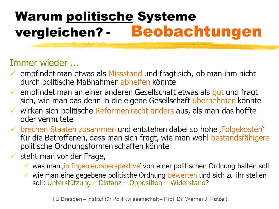 TU Dresden – Institut für Politikwissenschaft – Prof. Dr. Werner J. Patzelt Warum politische Systeme vergleichen? - Beobachtungen Immer wieder... empf