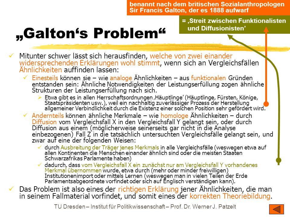 """TU Dresden – Institut für Politikwissenschaft – Prof. Dr. Werner J. Patzelt """"Galton's Problem"""" Mitunter schwer lässt sich herausfinden, welche von zwe"""