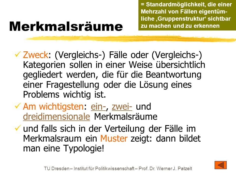 TU Dresden – Institut für Politikwissenschaft – Prof. Dr. Werner J. Patzelt Merkmalsräume Zweck: (Vergleichs-) Fälle oder (Vergleichs-) Kategorien sol
