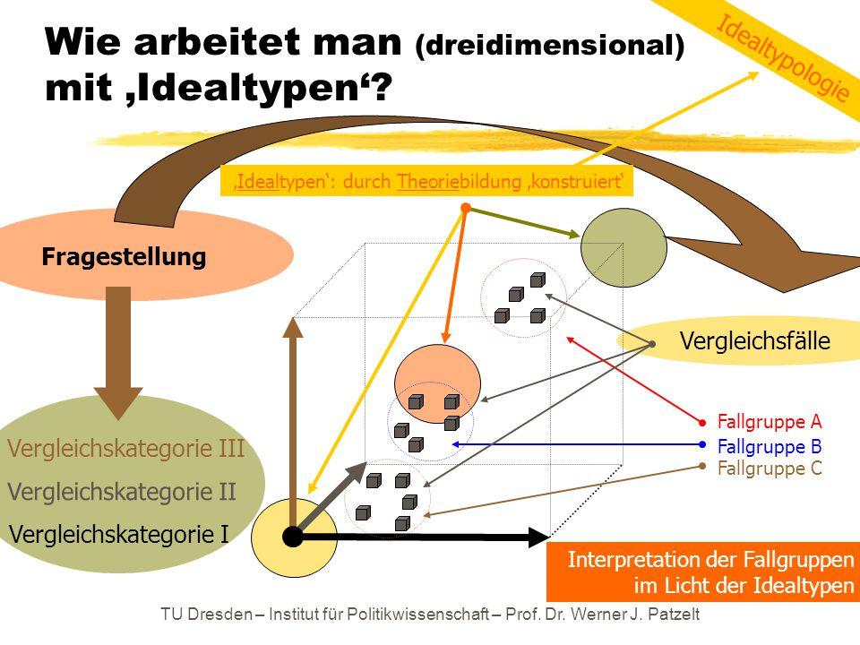 TU Dresden – Institut für Politikwissenschaft – Prof. Dr. Werner J. Patzelt Wie arbeitet man (dreidimensional) mit 'Idealtypen'? Vergleichskategorie I