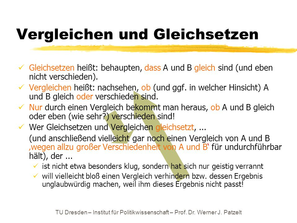 TU Dresden – Institut für Politikwissenschaft – Prof. Dr. Werner J. Patzelt Vergleichen und Gleichsetzen Gleichsetzen heißt: behaupten, dass A und B g