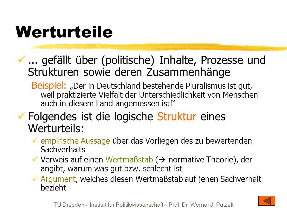 TU Dresden – Institut für Politikwissenschaft – Prof. Dr. Werner J. Patzelt Werturteile... gefällt über (politische) Inhalte, Prozesse und Strukturen