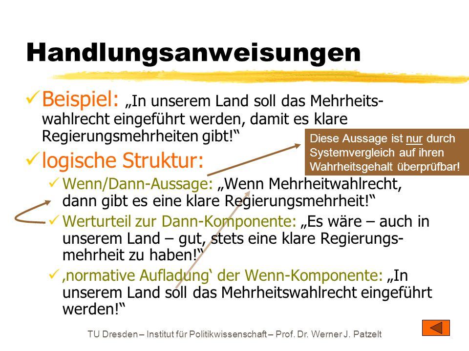 """TU Dresden – Institut für Politikwissenschaft – Prof. Dr. Werner J. Patzelt Handlungsanweisungen Beispiel: """"In unserem Land soll das Mehrheits- wahlre"""