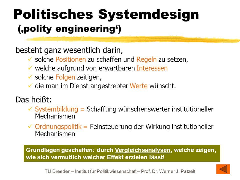 TU Dresden – Institut für Politikwissenschaft – Prof. Dr. Werner J. Patzelt Politisches Systemdesign ('polity engineering') besteht ganz wesentlich da