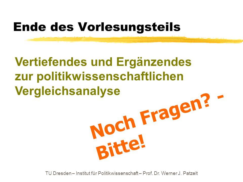 TU Dresden – Institut für Politikwissenschaft – Prof. Dr. Werner J. Patzelt Ende des Vorlesungsteils Noch Fragen? - Bitte! Vertiefendes und Ergänzende