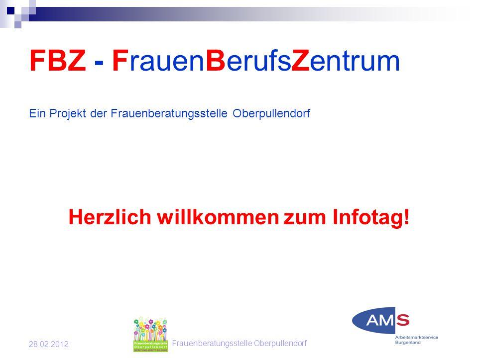 Frauenberatungsstelle Oberpullendorf 28.02.2012 FBZ - FrauenBerufsZentrum Ein Projekt der Frauenberatungsstelle Oberpullendorf Herzlich willkommen zum Infotag!