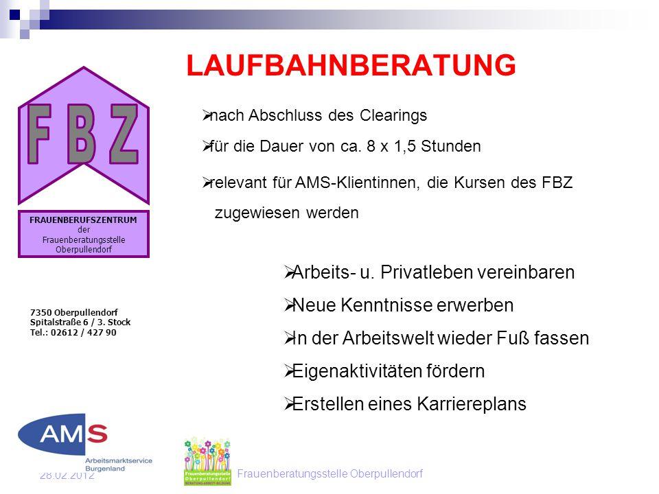 Frauenberatungsstelle Oberpullendorf 28.02.2012 LAUFBAHNBERATUNG 7350 Oberpullendorf Spitalstraße 6 / 3.