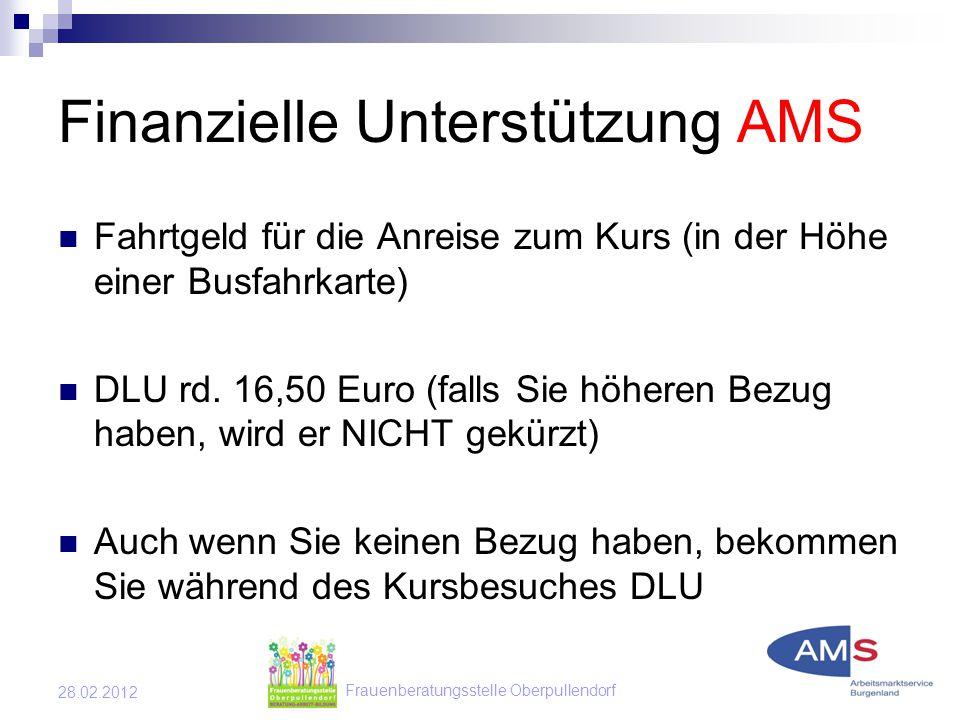 Frauenberatungsstelle Oberpullendorf 28.02.2012 Finanzielle Unterstützung AMS Fahrtgeld für die Anreise zum Kurs (in der Höhe einer Busfahrkarte) DLU rd.