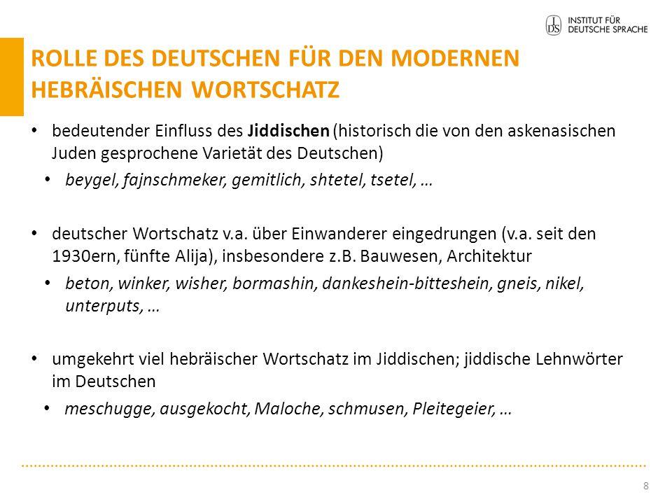 bedeutender Einfluss des Jiddischen (historisch die von den askenasischen Juden gesprochene Varietät des Deutschen) beygel, fajnschmeker, gemitlich, s