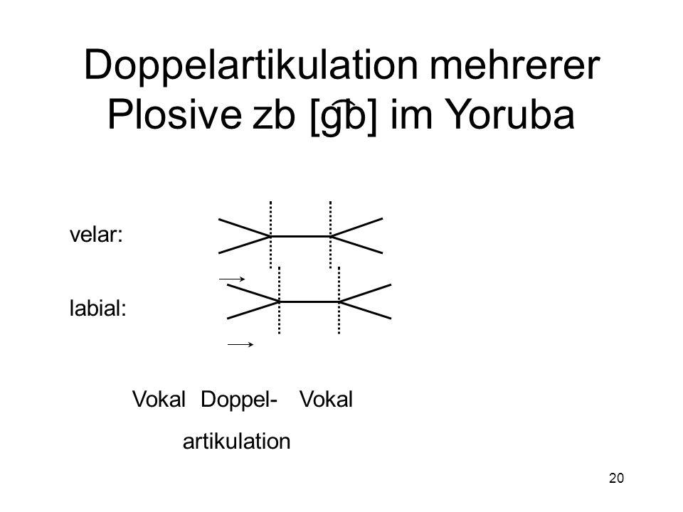 19 Einfache Artikulation mehrerer Plosive zb [pd] Vokal Plosiv PlosivVokal Labial: Alveolar: