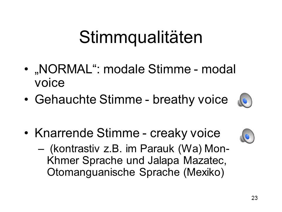 22 Sekundärartikulation zb [ ʃʷ ] im Deutschen Vokal Sekundär- Vokal artikulation postalveolar: labial: