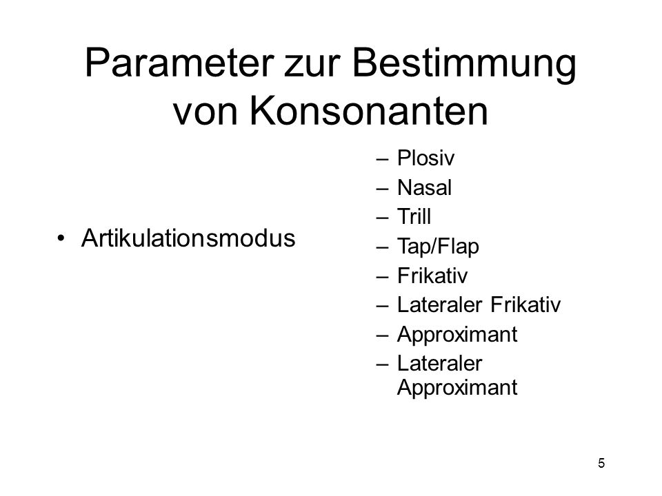4 Parameter zur Bestimmung von Konsonanten Artikulationsorgan (aktiver Artikulator) –Labial –Apikal –Laminal –Sublaminal –Dorsal –(Uvular) –Glottal