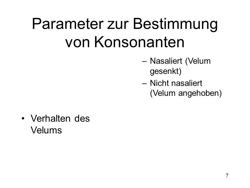 6 Parameter zur Bestimmung von Konsonanten Phonation –Stimmhaft –Stimmlos