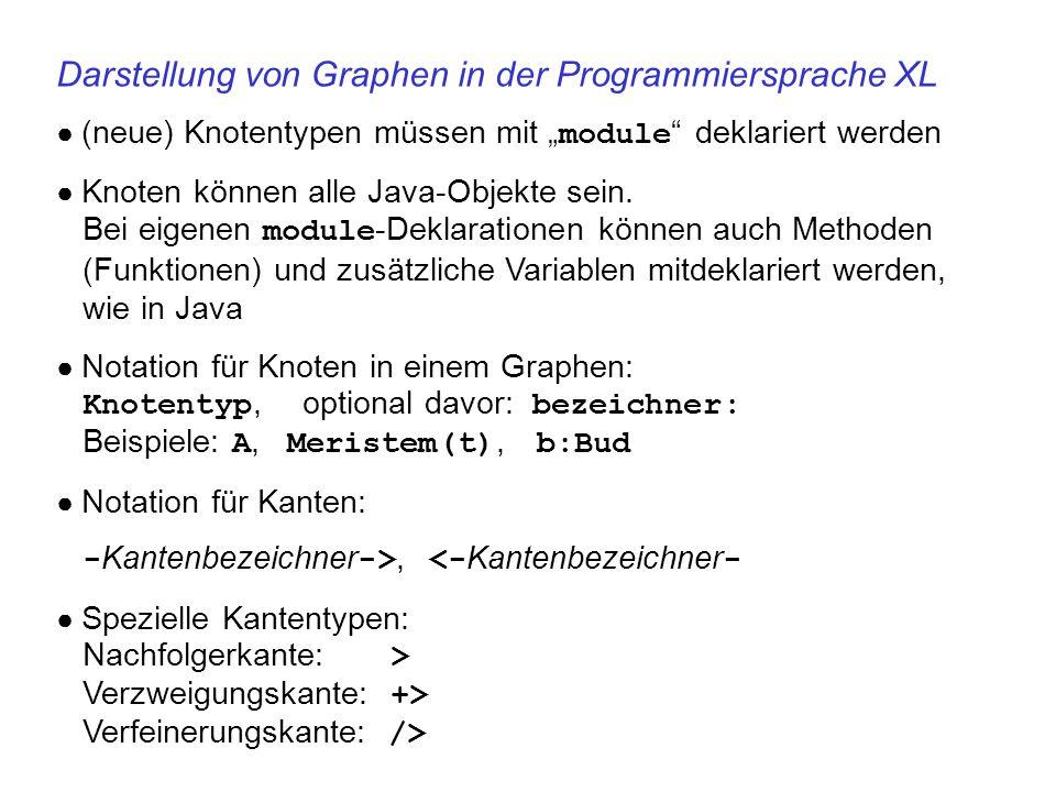 """Darstellung von Graphen in der Programmiersprache XL ● (neue) Knotentypen müssen mit """" module """" deklariert werden ● Knoten können alle Java-Objekte se"""