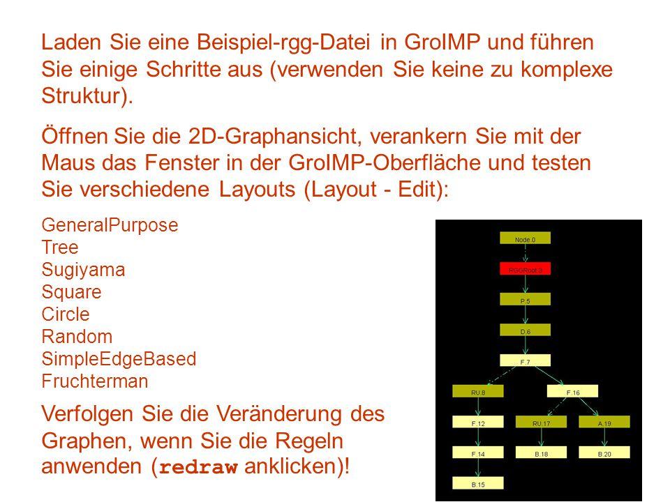 Laden Sie eine Beispiel-rgg-Datei in GroIMP und führen Sie einige Schritte aus (verwenden Sie keine zu komplexe Struktur). Öffnen Sie die 2D-Graphansi