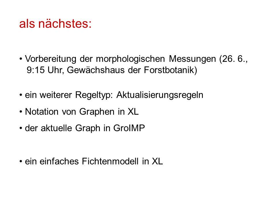 als nächstes: Vorbereitung der morphologischen Messungen (26. 6., 9:15 Uhr, Gewächshaus der Forstbotanik) ein weiterer Regeltyp: Aktualisierungsregeln