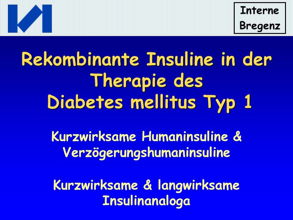 Interne Bregenz Neue Rekombinante Insuline kurzwirksame Insulinanaloga Insulin LISPRO Insulin ASPART Insulin GLULISINE Wirkbeginn nach 10 bis 15 Minuten Wirkgipfel nach 1 Stunde Wirkdauer 3 bis 4 Stunden