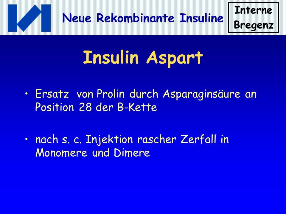 Interne Bregenz Neue Rekombinante Insuline Insulin Aspart Ersatz von Prolin durch Asparaginsäure an Position 28 der B-Kette nach s. c. Injektion rasch