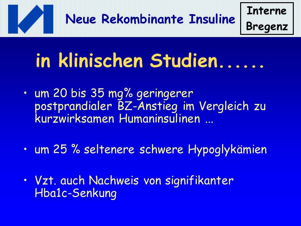 Interne Bregenz Neue Rekombinante Insuline in klinischen Studien...... um 20 bis 35 mg% geringerer postprandialer BZ-Anstieg im Vergleich zu kurzwirks