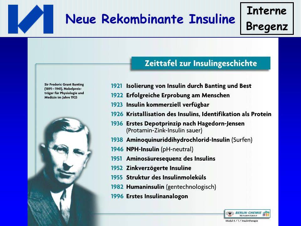 Interne Bregenz Neue Rekombinante Insuline Insulin Detemir Bindung einer 14C-freien Fettsäure an das Insulinmolekül; Dadurch kommt es in der nativen Form zur Aggregation der Hexamere und in der monomeren Form zur Bindung an Albumin