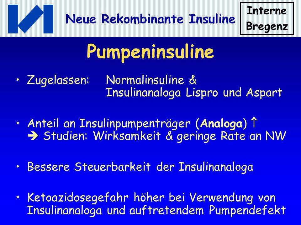 Interne Bregenz Neue Rekombinante Insuline Pumpeninsuline Zugelassen:Normalinsuline & Insulinanaloga Lispro und Aspart Anteil an Insulinpumpenträger (