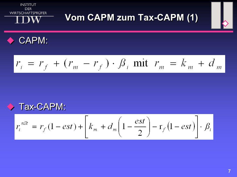 7 Vom CAPM zum Tax-CAPM (1)  CAPM:  Tax-CAPM:  CAPM:  Tax-CAPM: