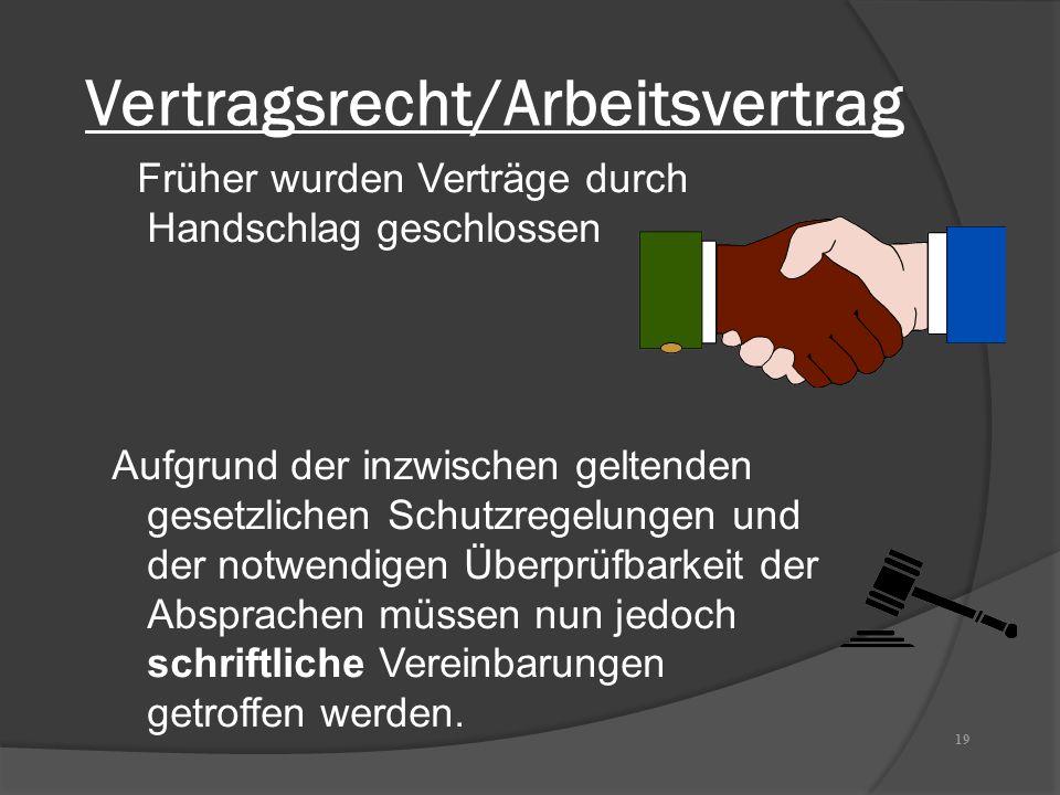 Vertragsrecht/Arbeitsvertrag Früher wurden Verträge durch Handschlag geschlossen Aufgrund der inzwischen geltenden gesetzlichen Schutzregelungen und d