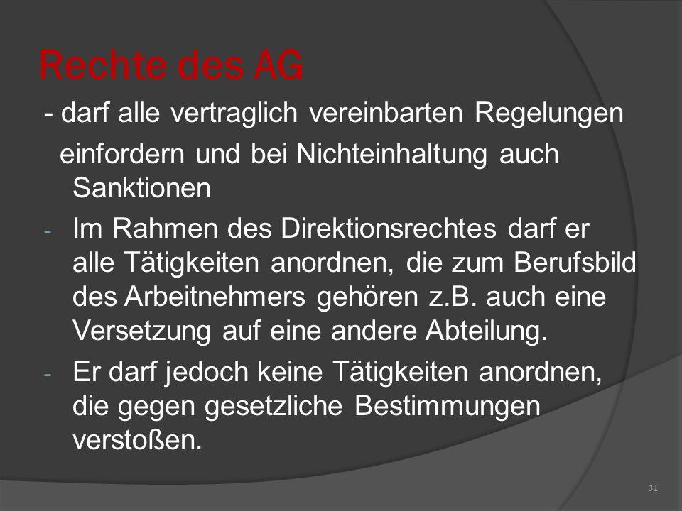 Rechte des AG - darf alle vertraglich vereinbarten Regelungen einfordern und bei Nichteinhaltung auch Sanktionen - Im Rahmen des Direktionsrechtes dar
