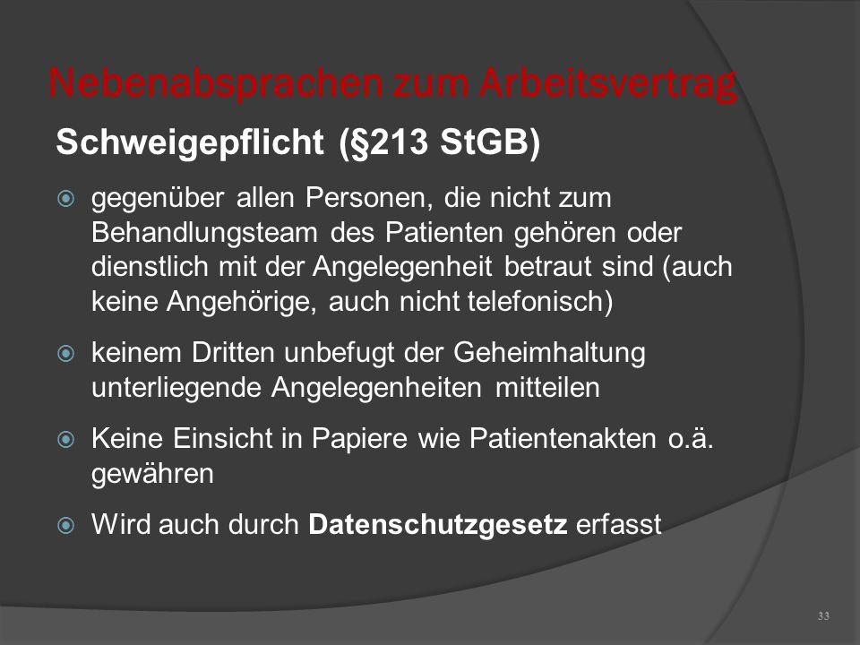 Nebenabsprachen zum Arbeitsvertrag Schweigepflicht (§213 StGB)  gegenüber allen Personen, die nicht zum Behandlungsteam des Patienten gehören oder di